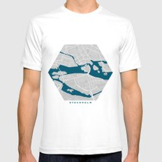 Stockholm city map grey colour White SMALL Mens Fitted Tee