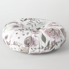 dusty rose floral watercolor Floor Pillow
