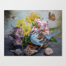 Floral still life with sparrow, bumble bee, butterfly, and sea shells Canvas Print