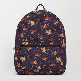 Purple Goldfish Pattern Backpack