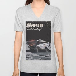 """Moon - """"Enlist Today"""" Sci-fi poster Unisex V-Neck"""