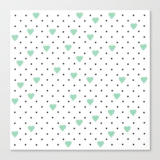 Pin Point Hearts Mint Canvas Print
