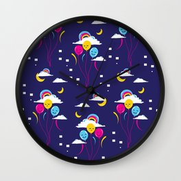 Balloons in the night sky Wall Clock