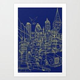 London! Navy Art Print