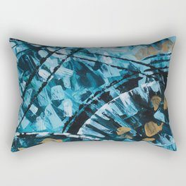 Turquoise and Gold Abstract Painting Rectangular Pillow