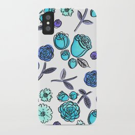 Blue Velvet Roses iPhone Case