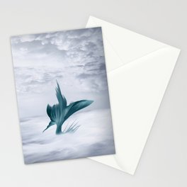 Mermaids Surfing the Ocean Waves, Teal and Gray Illustration Stationery Cards