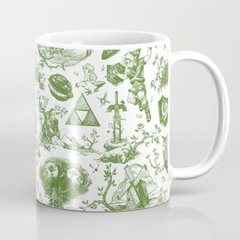 "Zelda ""Hero of Time"" Toile Pattern - Kokiri's Emerald Coffee Mug"