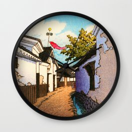 Kawase Hasui - Koinobori - Digital Remastered Edition Wall Clock
