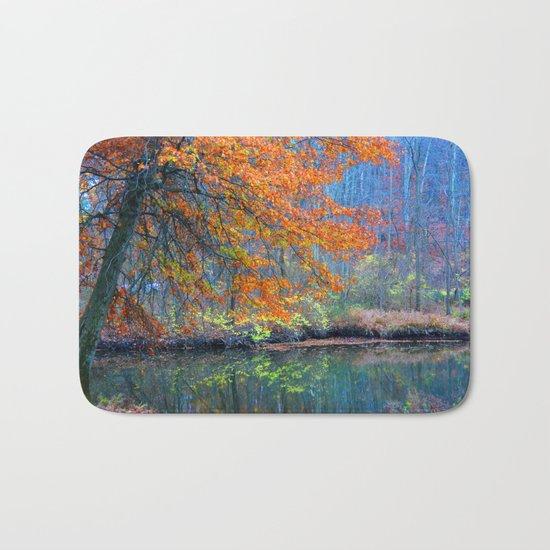 Fall on the River Bath Mat