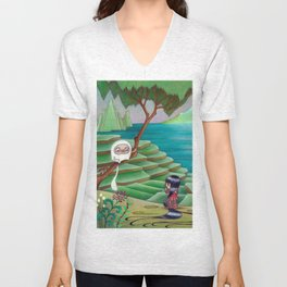 Meeting Friend by  Rice Paddies Unisex V-Neck