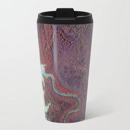 blu water through red land Travel Mug