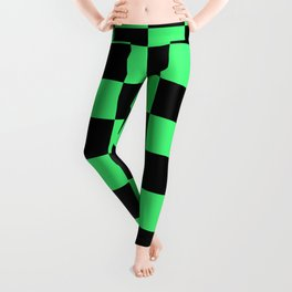 Black and Green Checkerboard Pattern Leggings