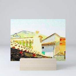 Tortora foreshortening of roofs Mini Art Print