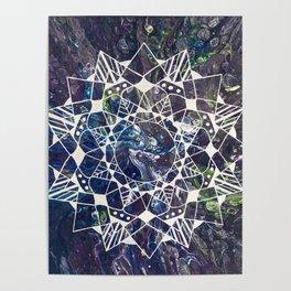 White Mandala on Purple Fluid Acrylic Painting Poster