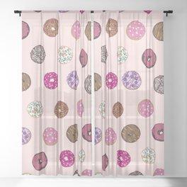 Artsy Pink Sprinkle Donuts Watercolor Pattern Sheer Curtain