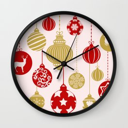 Holly Jolly Festive Balls Wall Clock