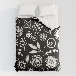 flowers leaves abstract doodle hand drawn lines scandinavian style white black fashion print, trend Comforters