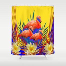 CONTEMPORARY  PURPLE ART DECO FLAMINGOS WATERLILIES-GOLD  ART Shower Curtain