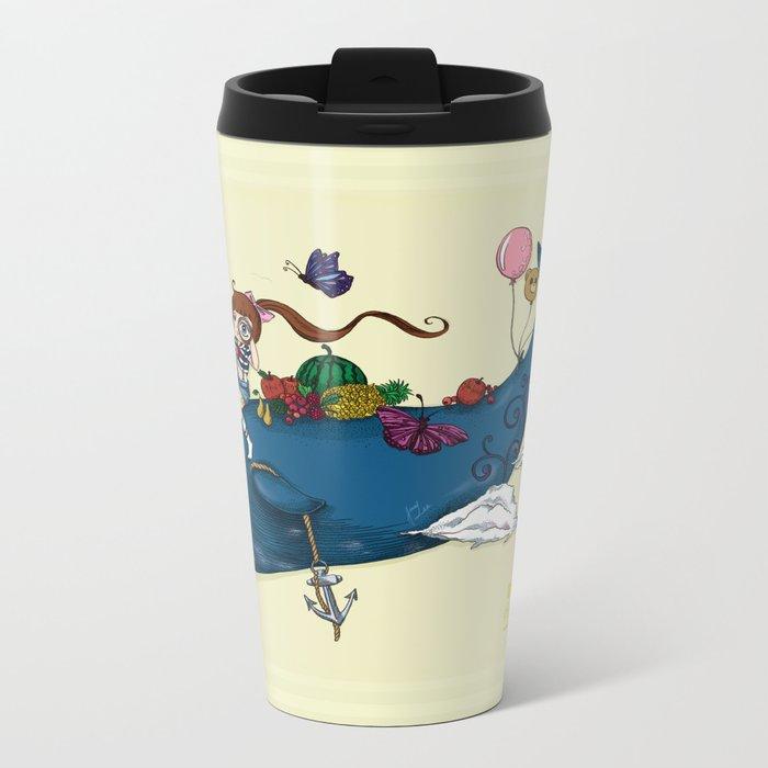Whale girl Metal Travel Mug