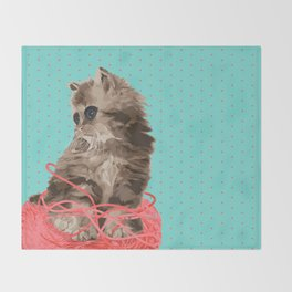 Messy Lil Cat Throw Blanket