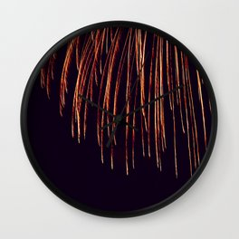 Beautiful Red and Orange Fireworks falling down in the sky! Wall Clock