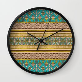 Mexican Style pattern - teal, gold and earthy colors Wall Clock