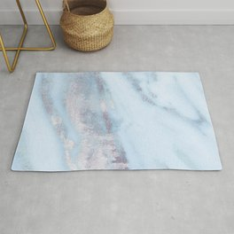 Light Blue Gray Marble Rug