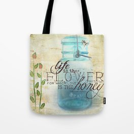 Summer Flowers and Busy Bees Tote Bag