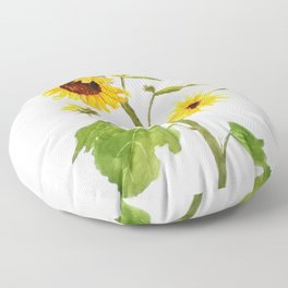 One sunflower watercolor arts Floor Pillow