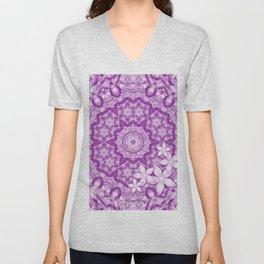 flowers on purple mandala Unisex V-Neck