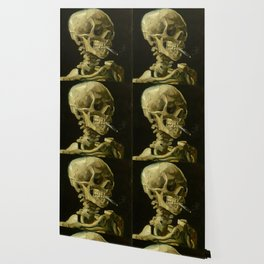 Skull of a Skeleton with Burning Cigarette Painting by Vincent van Gogh Wallpaper