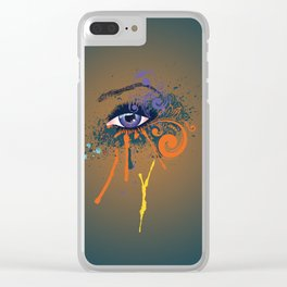 Grunge violet eye Clear iPhone Case