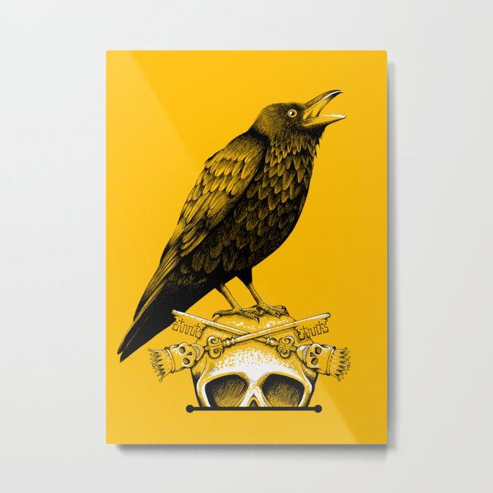 Black Crow, Skull and Cross Keys Metal Print