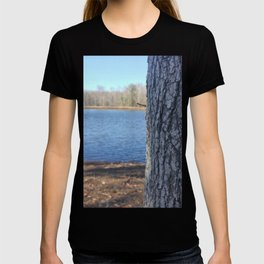 Oak Tree Trunk Next To Lake Abstract T-shirt