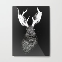 The Jackalope in Black Metal Print