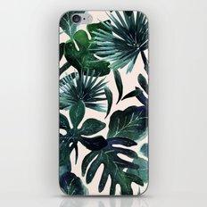 Tropical Leaves - Deep Sea and Blush iPhone & iPod Skin