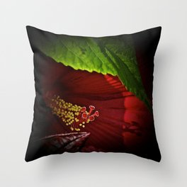 Shadowed Hibiscus Throw Pillow