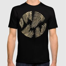 Gold palm leaves Black 2X-LARGE Mens Fitted Tee