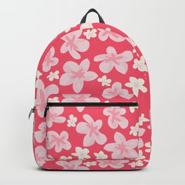 Apple Blossom Pink Hawaiian Hibiscus - Cherry Red and Pink Backpack