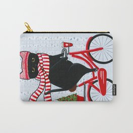 Black Cat Christmas Bicycle Ride Carry-All Pouch