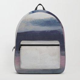 Plum Purple Navy Lavender Blue Abstract Painting Wall Art Prints, Ocean Waves Horizon, Modern Wall Backpack