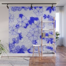 Floral Design EMMY blue Wall Mural