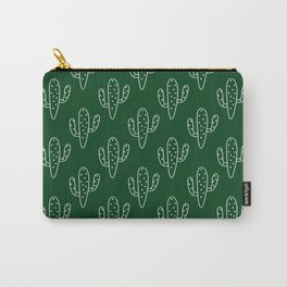 Modern hand painted forest green white cactus floral Carry-All Pouch