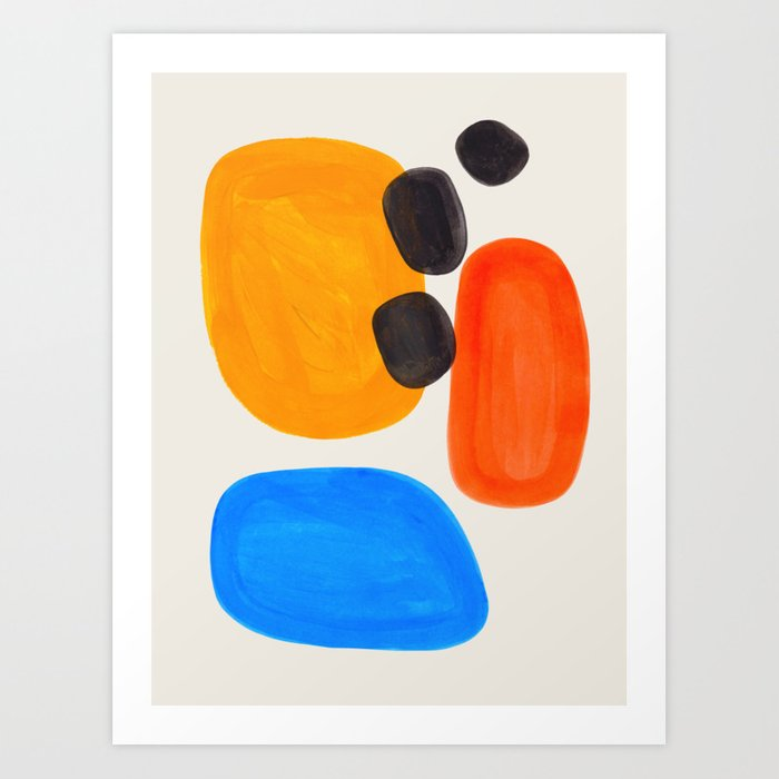 Minimalist Modern Mid Century Colorful Abstract Shapes Primary Colors Yellow Orange Blue Bubbles Kunstdrucke