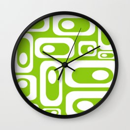 Atomic Age Pod Pattern in White and Lime Green Wall Clock