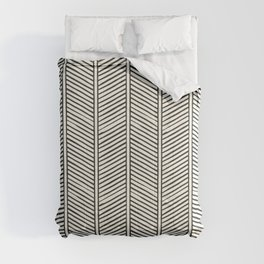 Organic Chevron - Inkwell on cream Comforters