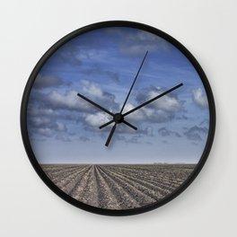 Farm Furrows in a Texas Field Wall Clock