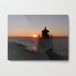 Dusk Sky as the sun sets behind the lighthouse Metal Print