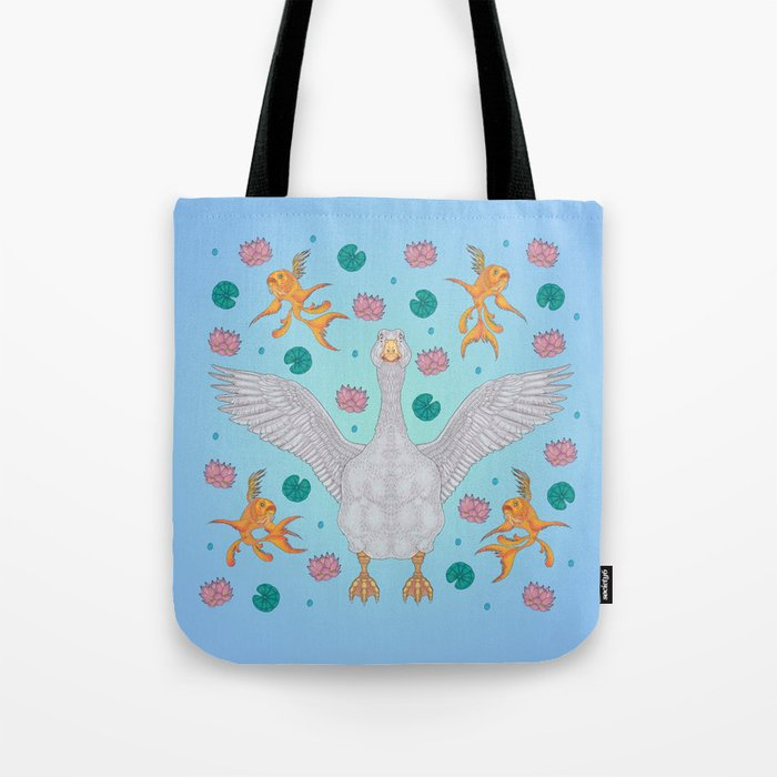 White Goose: Front View Tote Bag